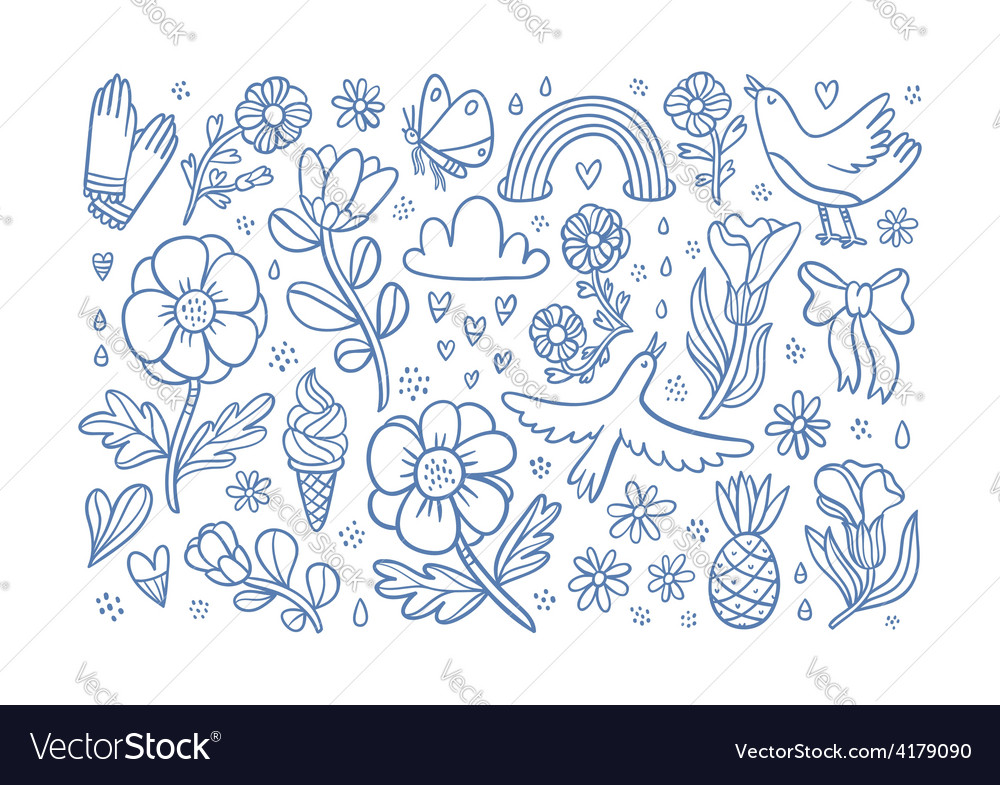 Summertime flowers and birds composition vector image