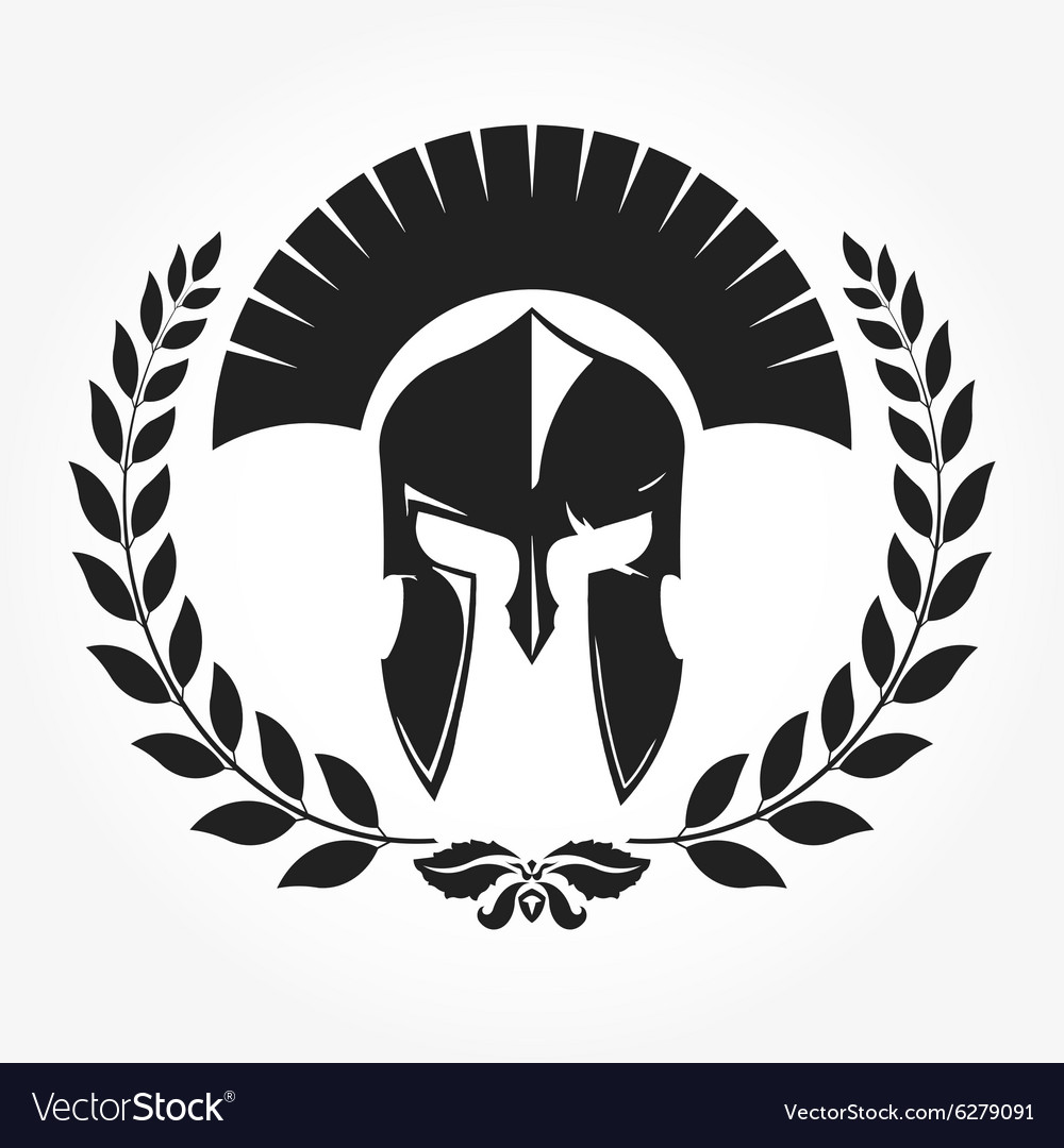 Gladiator knight icon with laurel wreath vector image