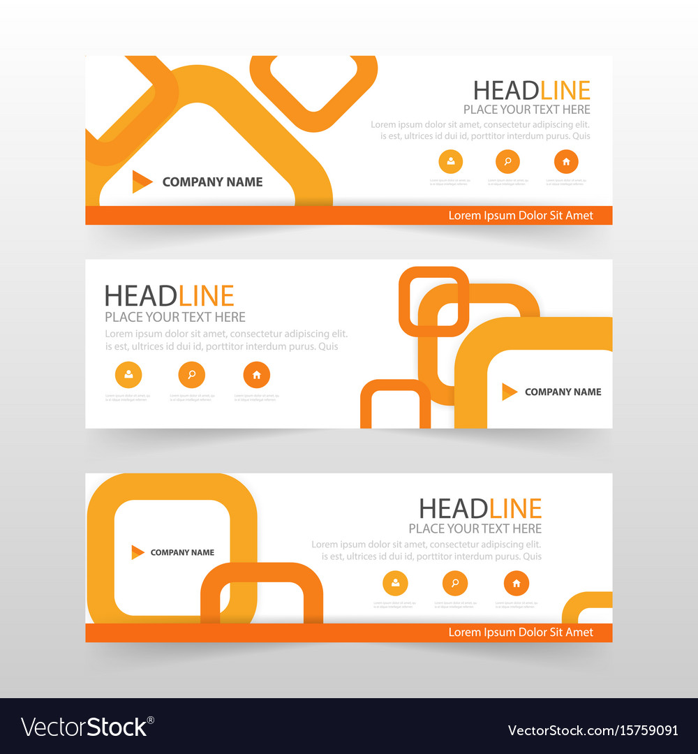 Orange abstract corporate business banner template vector image