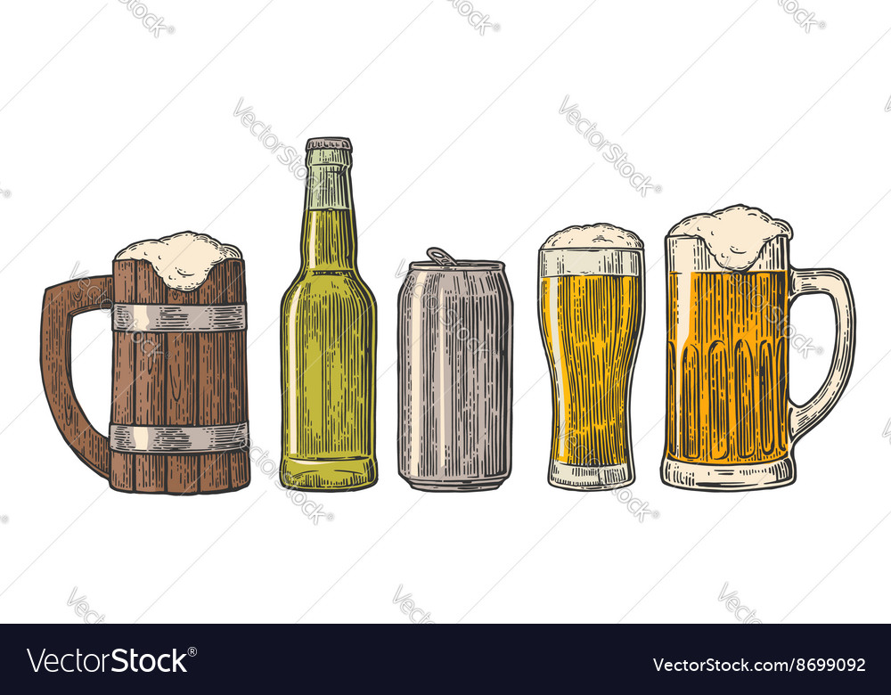 Beer glass mug can bottle hop vintage vector image