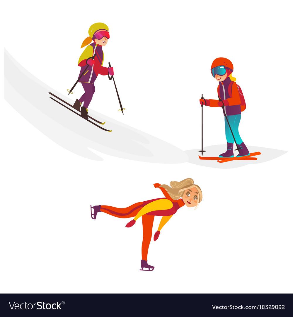 Cartoon kids doing sports set vector image