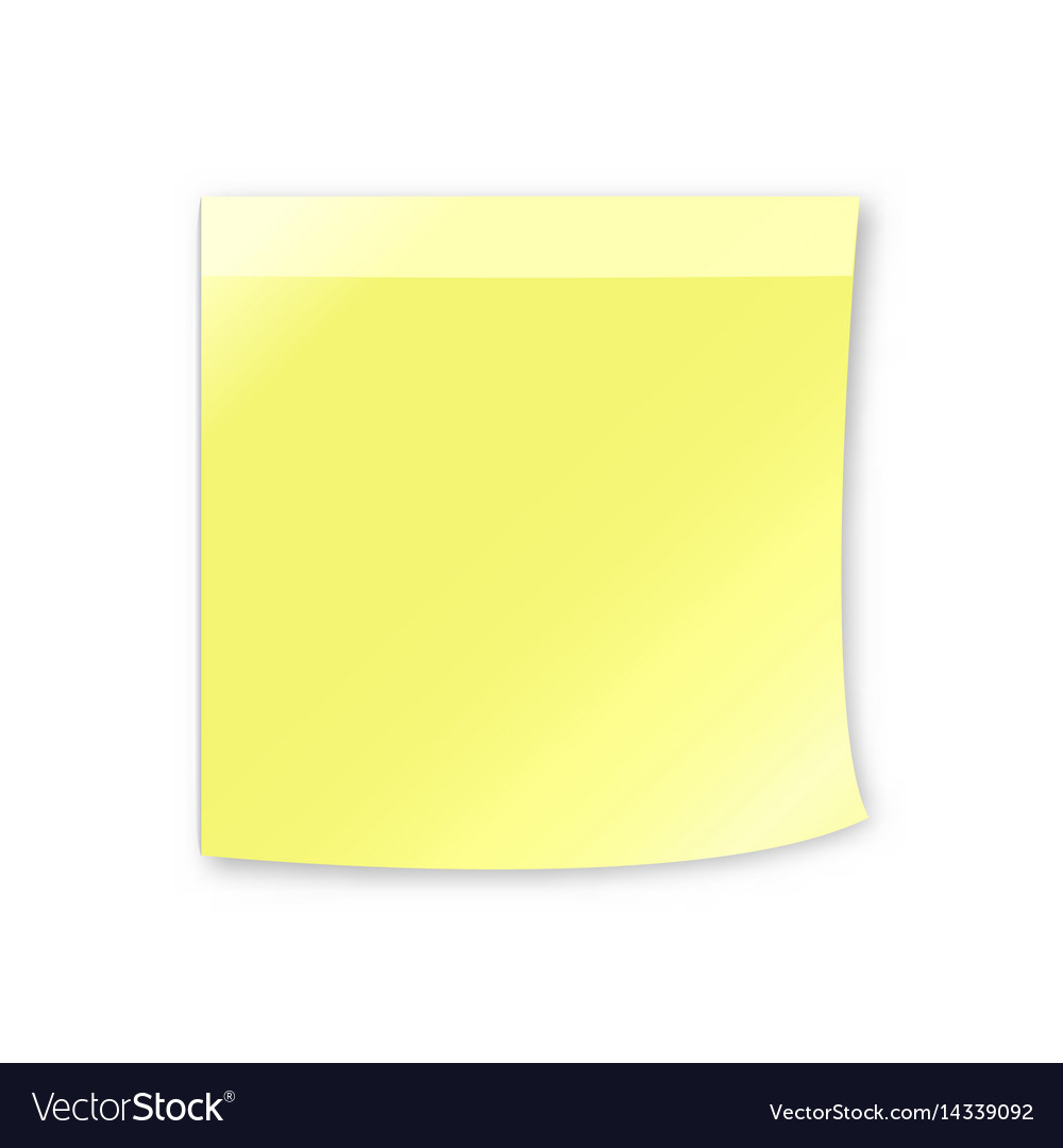 Empty yellow sticky note vector image