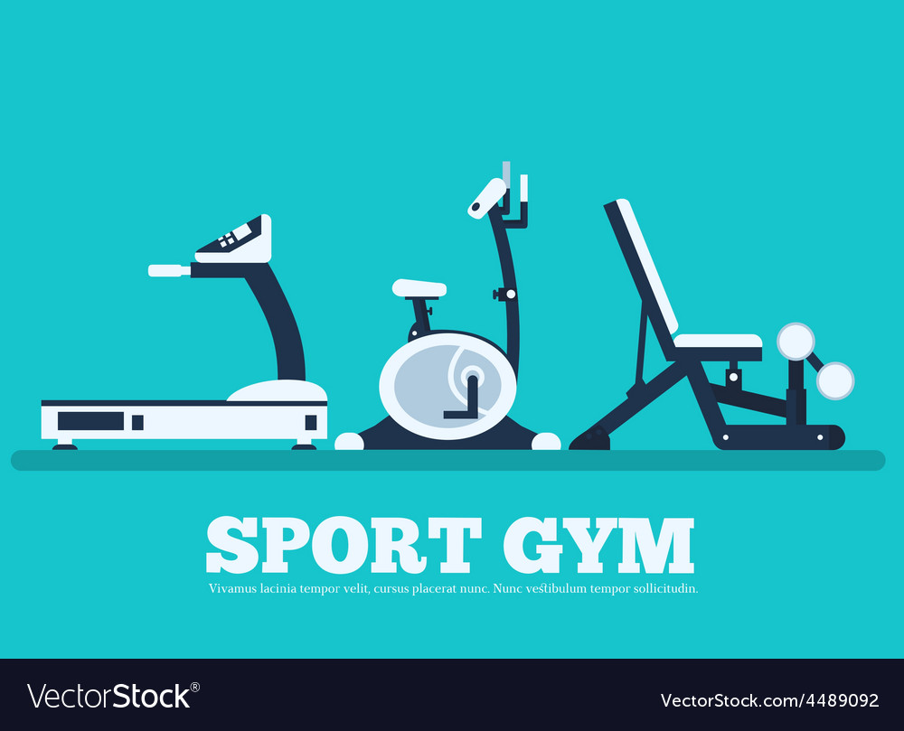 Fitness sport gym exercise equipment workout flat vector image