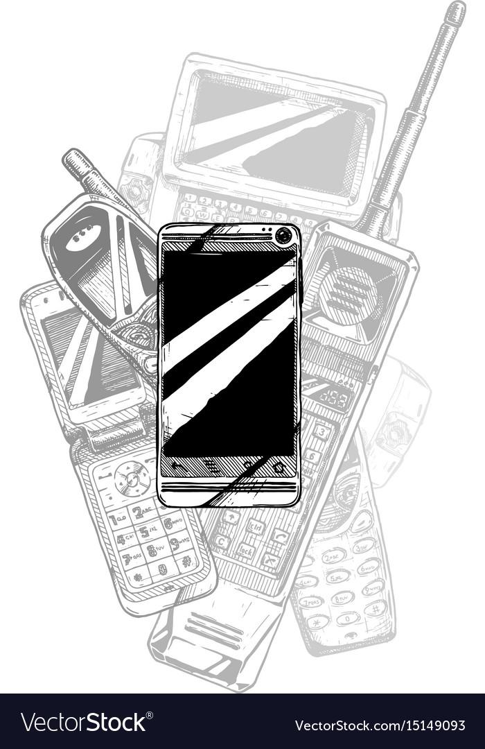 Touchscreen smartphone evolution vector image