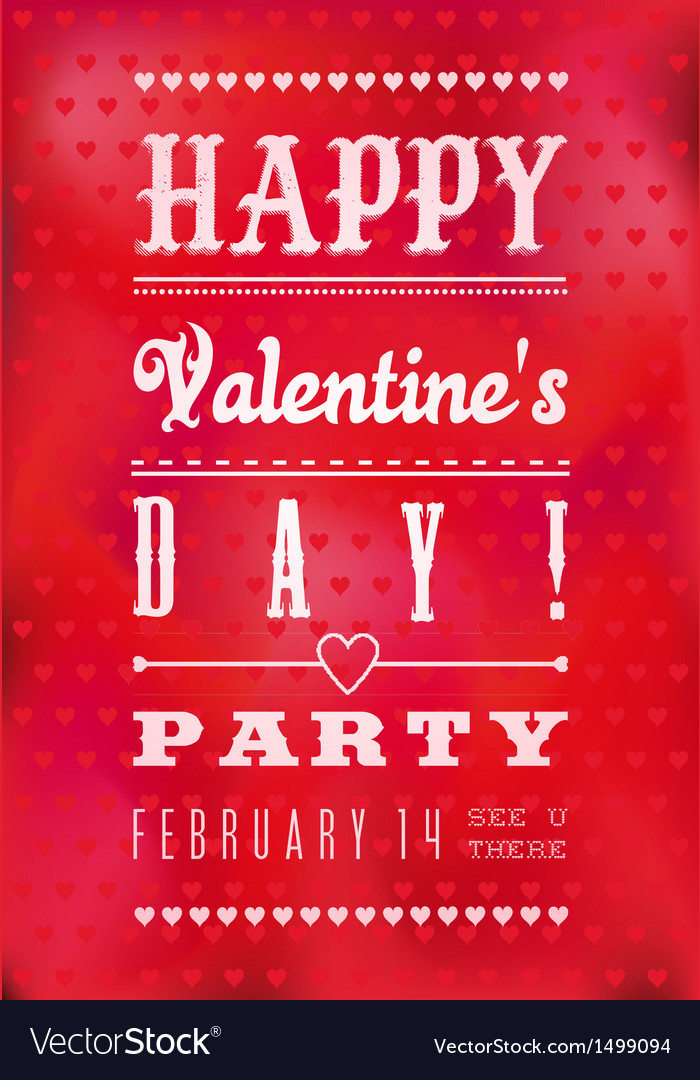 Colorful Happy Valentines Day Party Poster vector image
