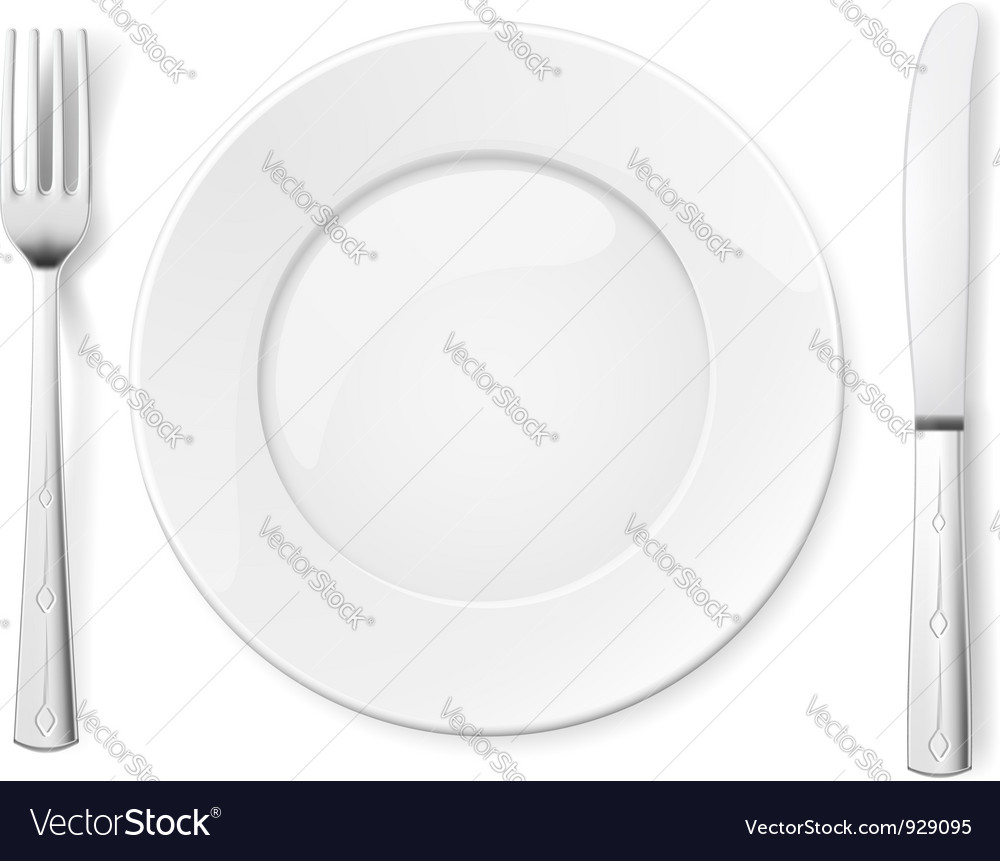 Empty plate with knife and fork vector image