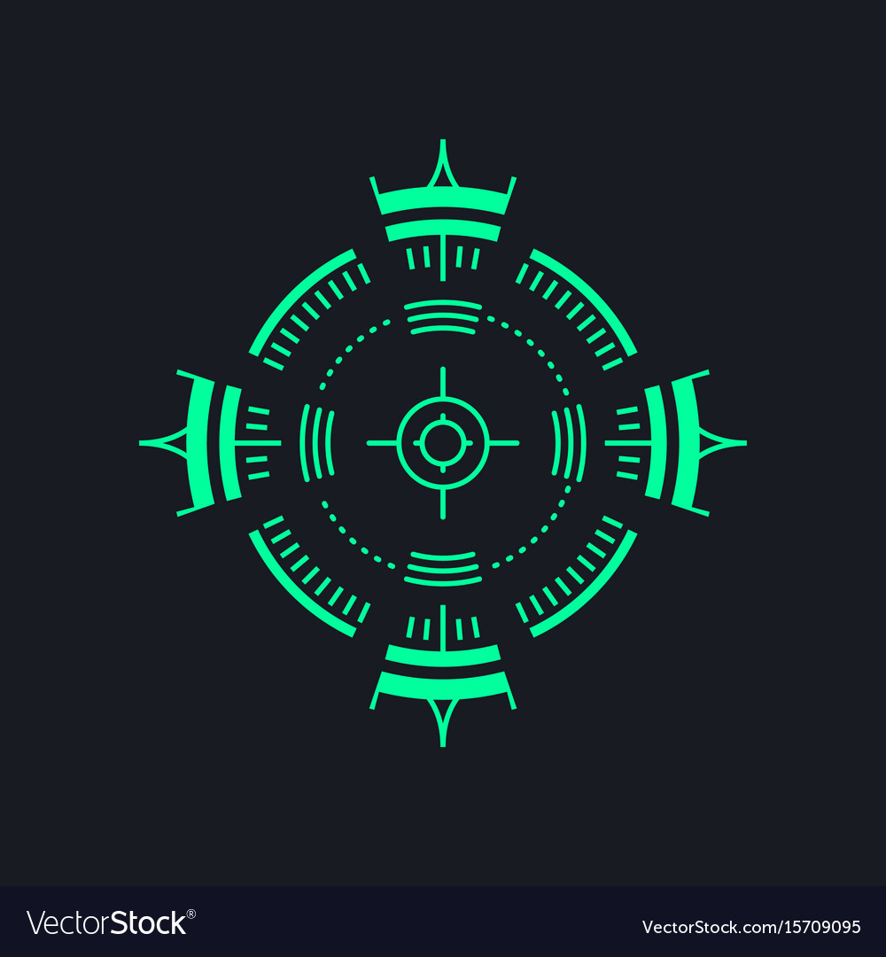 Sniper backsight or radar icon - aim symbol vector image