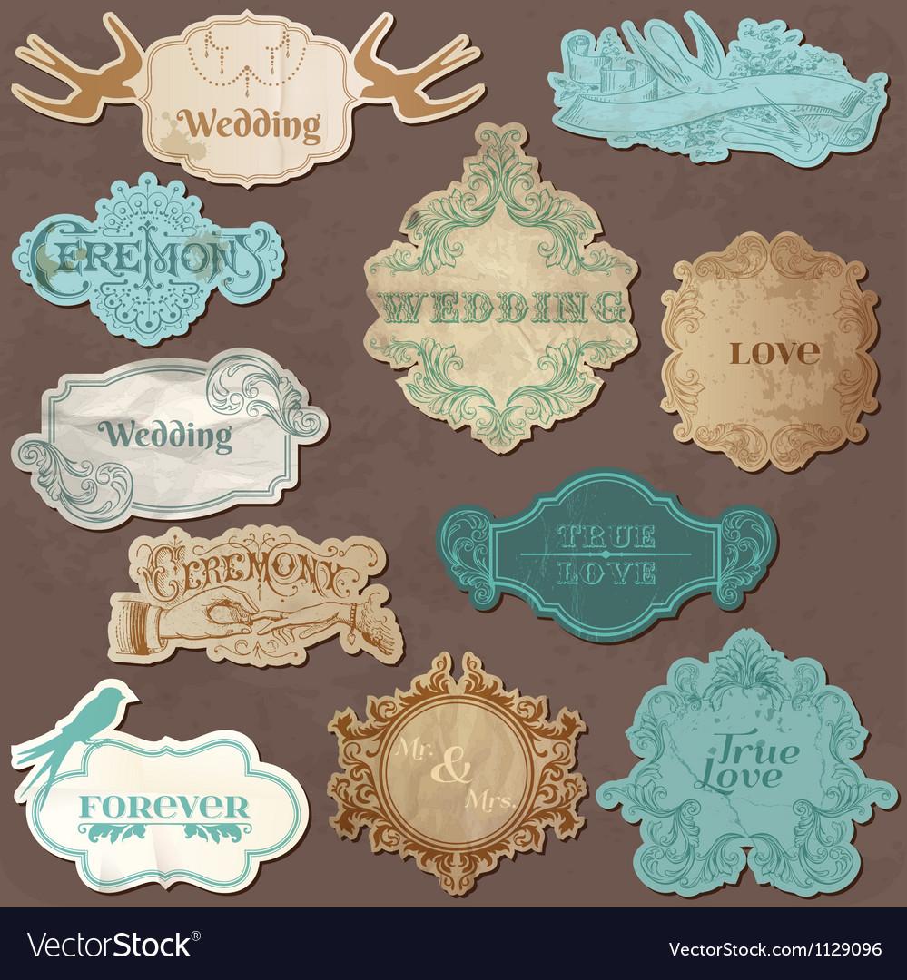 Wedding Vintage Frames and Design Elements vector image