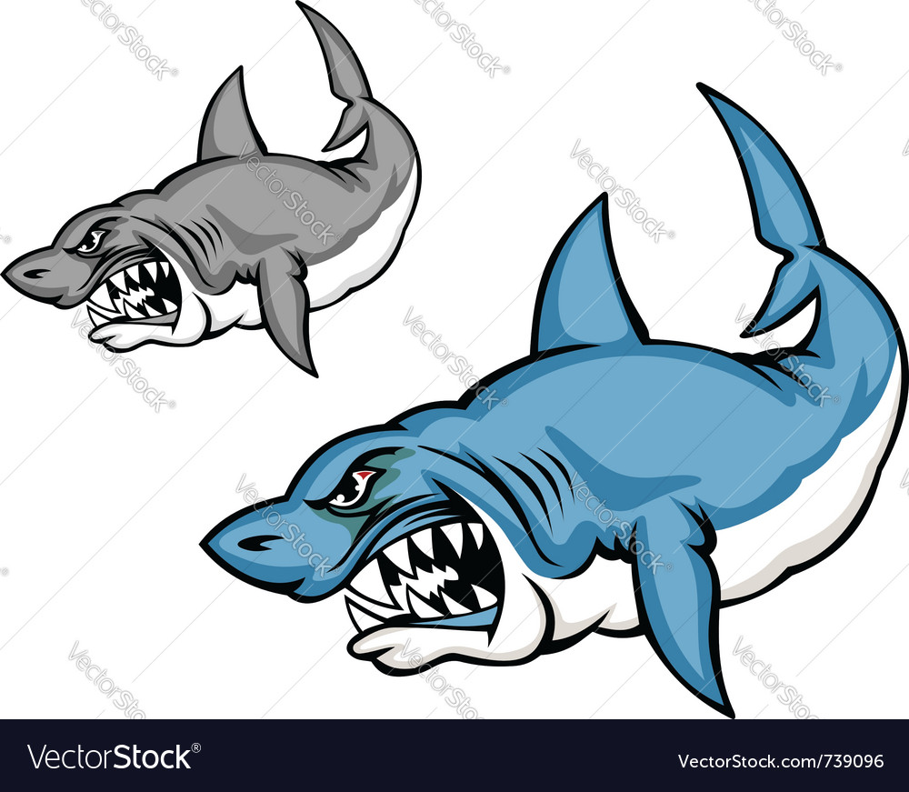 cartoon shark royalty free vector image vectorstock