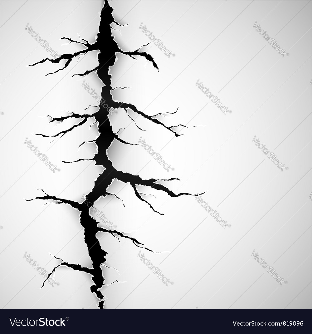 Crack on paper vector image