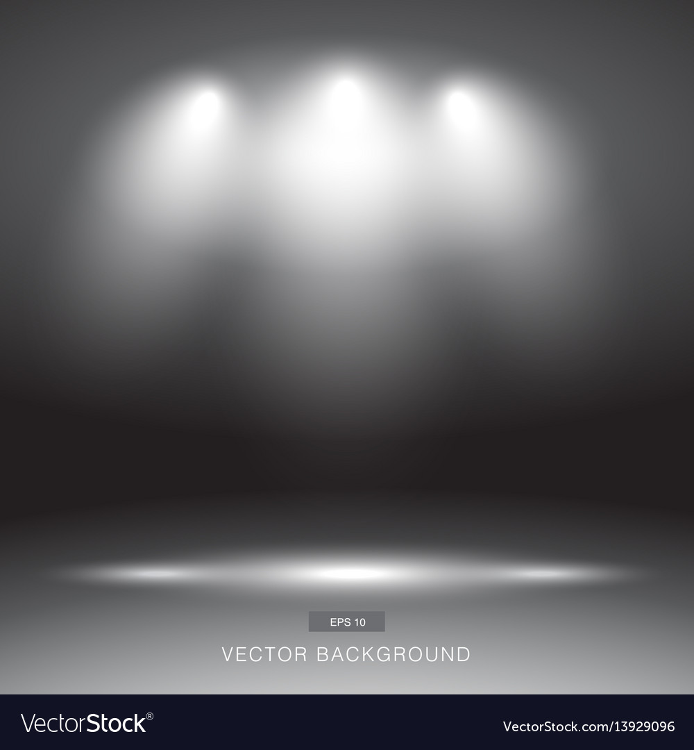 Empty dark or black gallery wall with lights vector image