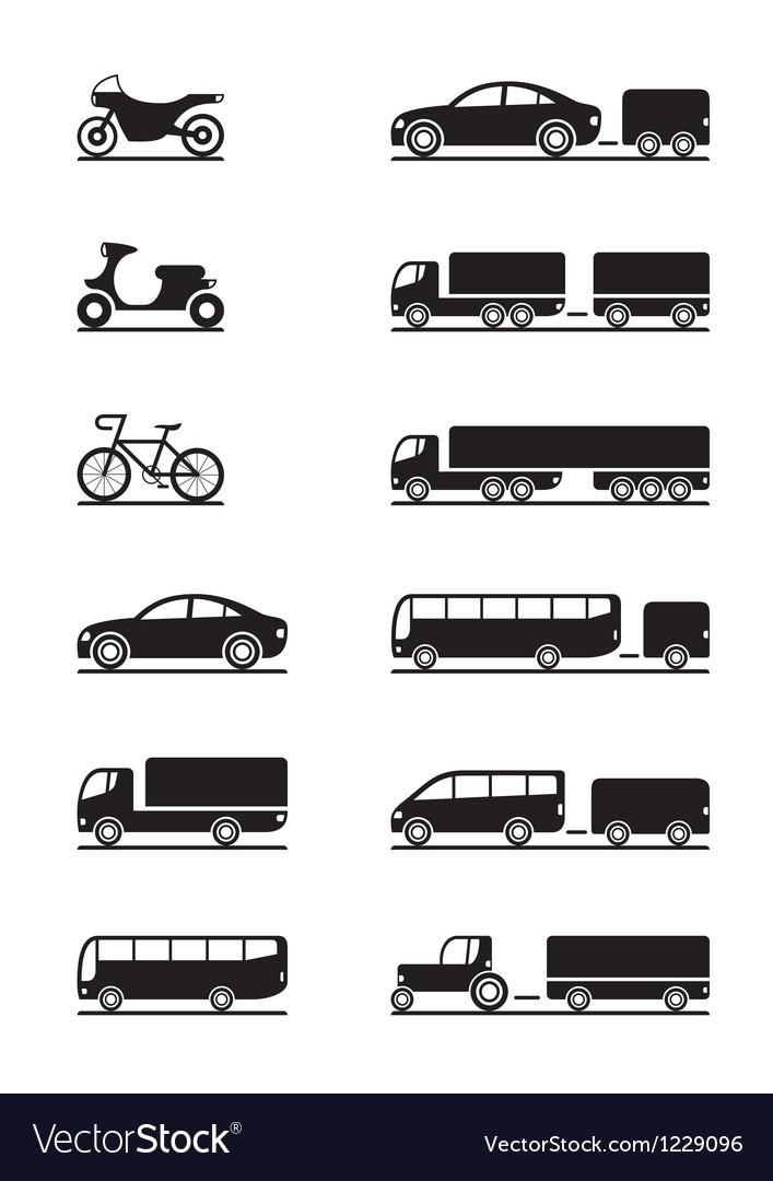 Road vehicles icon set vector image