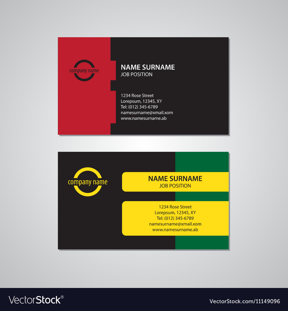 Set of two colored business cards usa standard vector image colourmoves