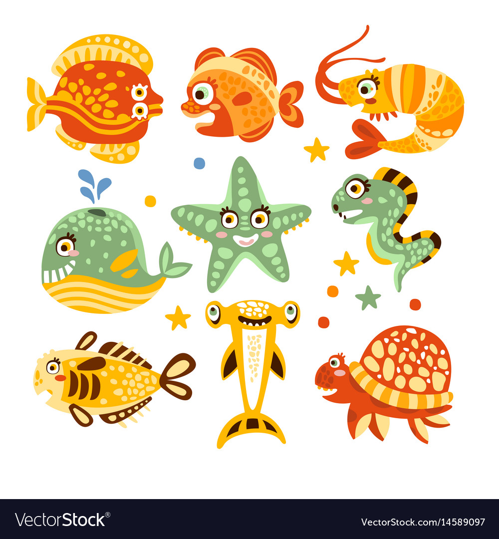 Cartoon underwater world with fish plants marine vector image