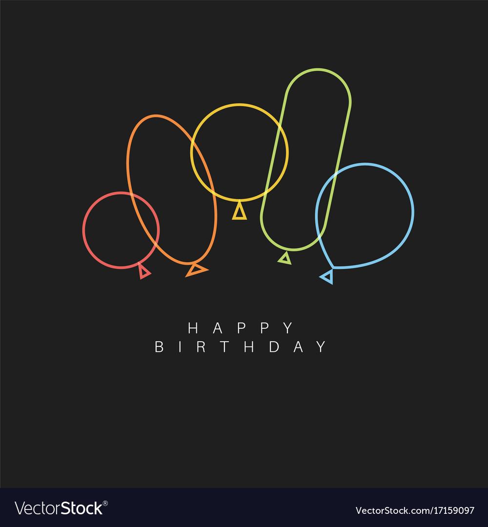 Dark happy birthday card with balloons vector image