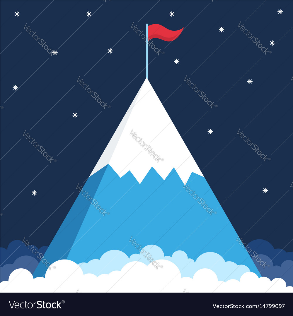 Mountain with flag on top business success vector image