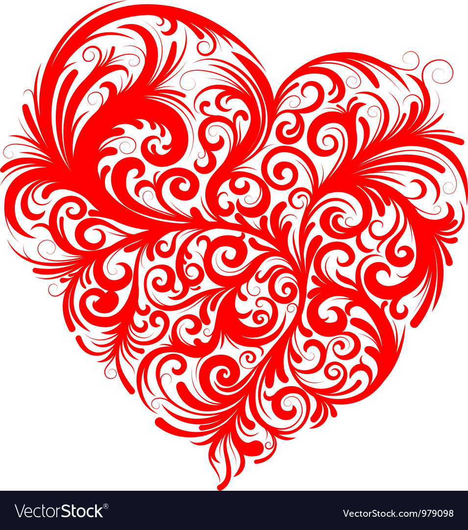 Red floral heart vector image