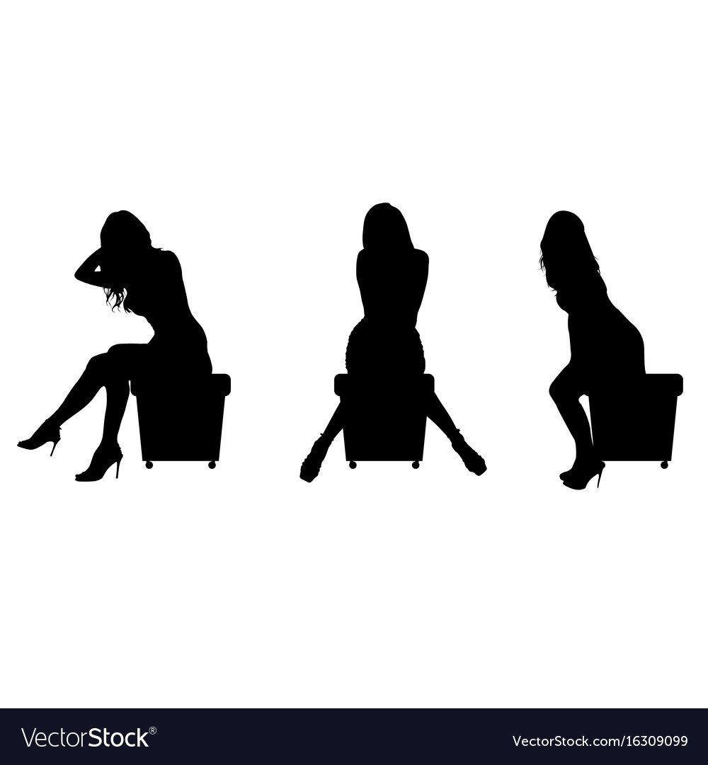 girl silhouette sitting set in black vector image