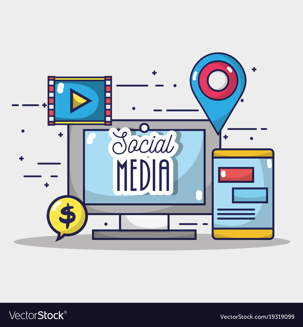 Social media element to internet connect vector image