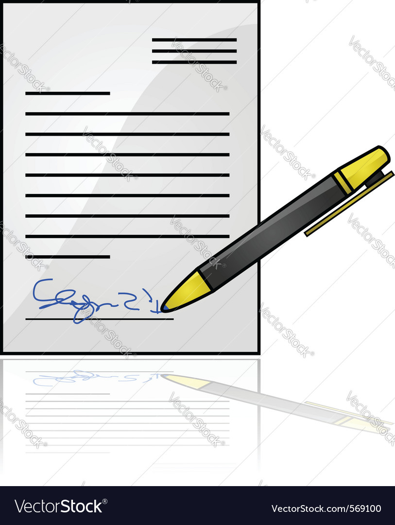 Document with a signature vector image