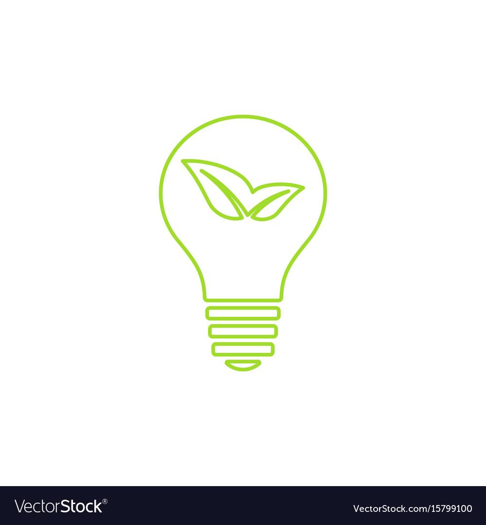 Green light bulb icon vector image