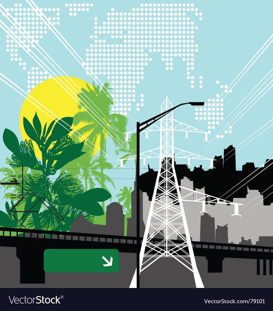 Jungle city vector image