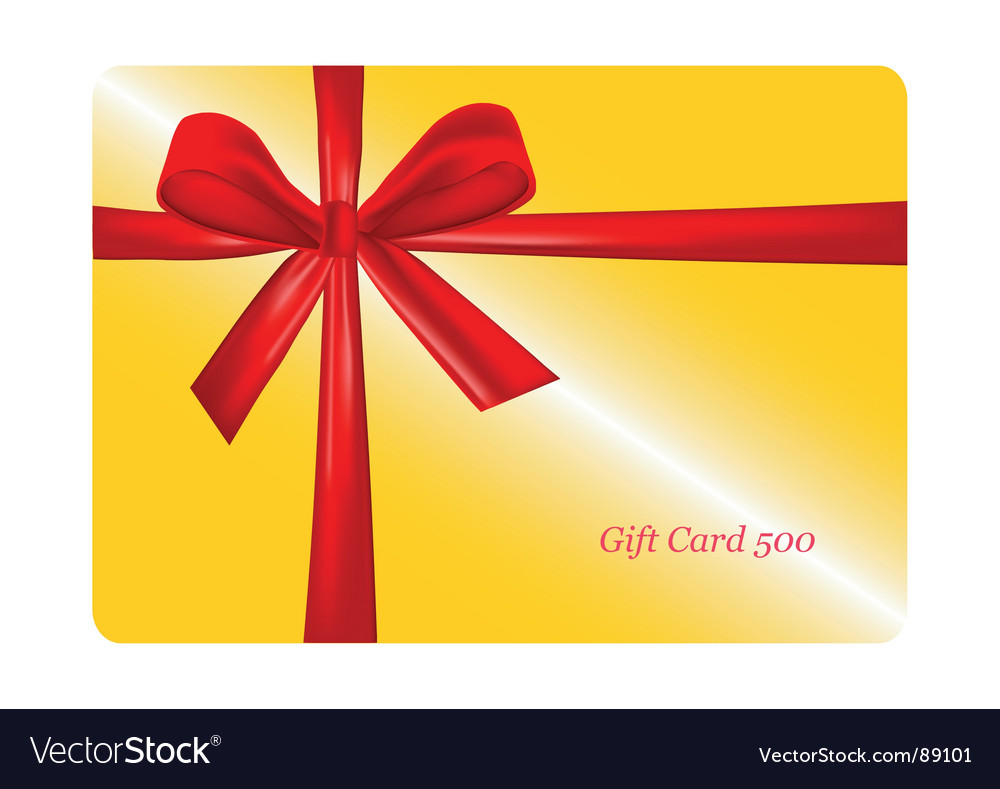 Gift card with red ribbon vector image