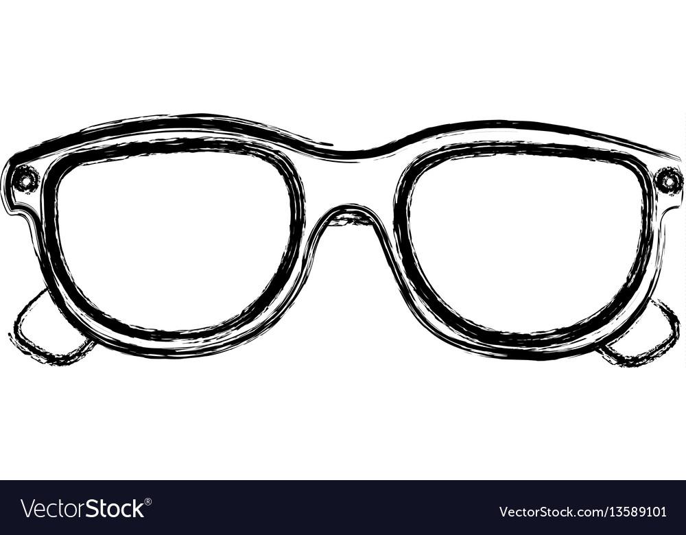 Monochrome sketch of 3d cinema glasses vector image
