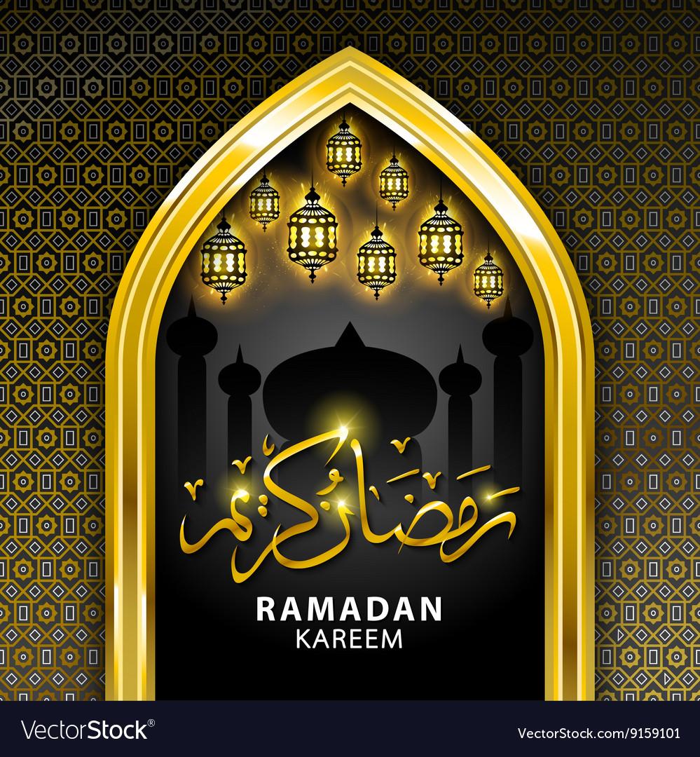 Ramadan greeting card on black background ramadan vector image kristyandbryce Image collections