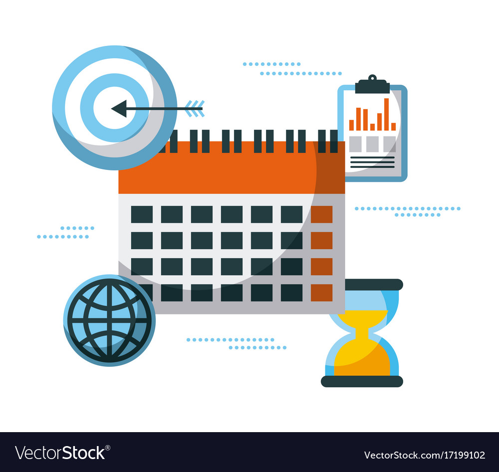 Business planning clock time success target vector image