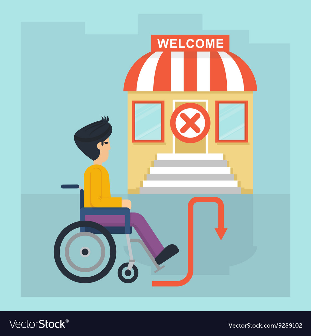 Health care man in wheelchair stop vector image