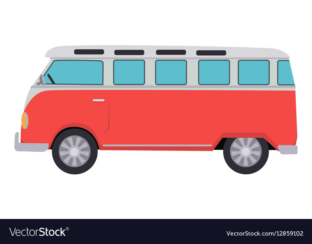 Retro Travel Red Van vector image