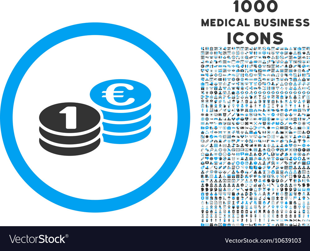 Euro Coin Columns Rounded Icon with 1000 Bonus vector image