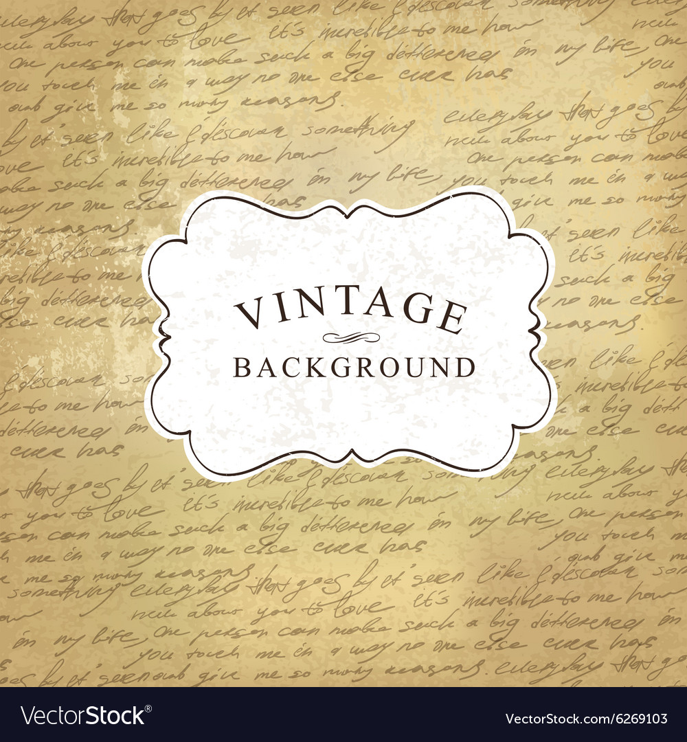 Vintage background with script pattern vector image