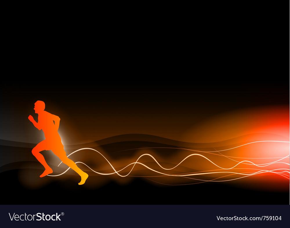 Burning runner on the dark vector image
