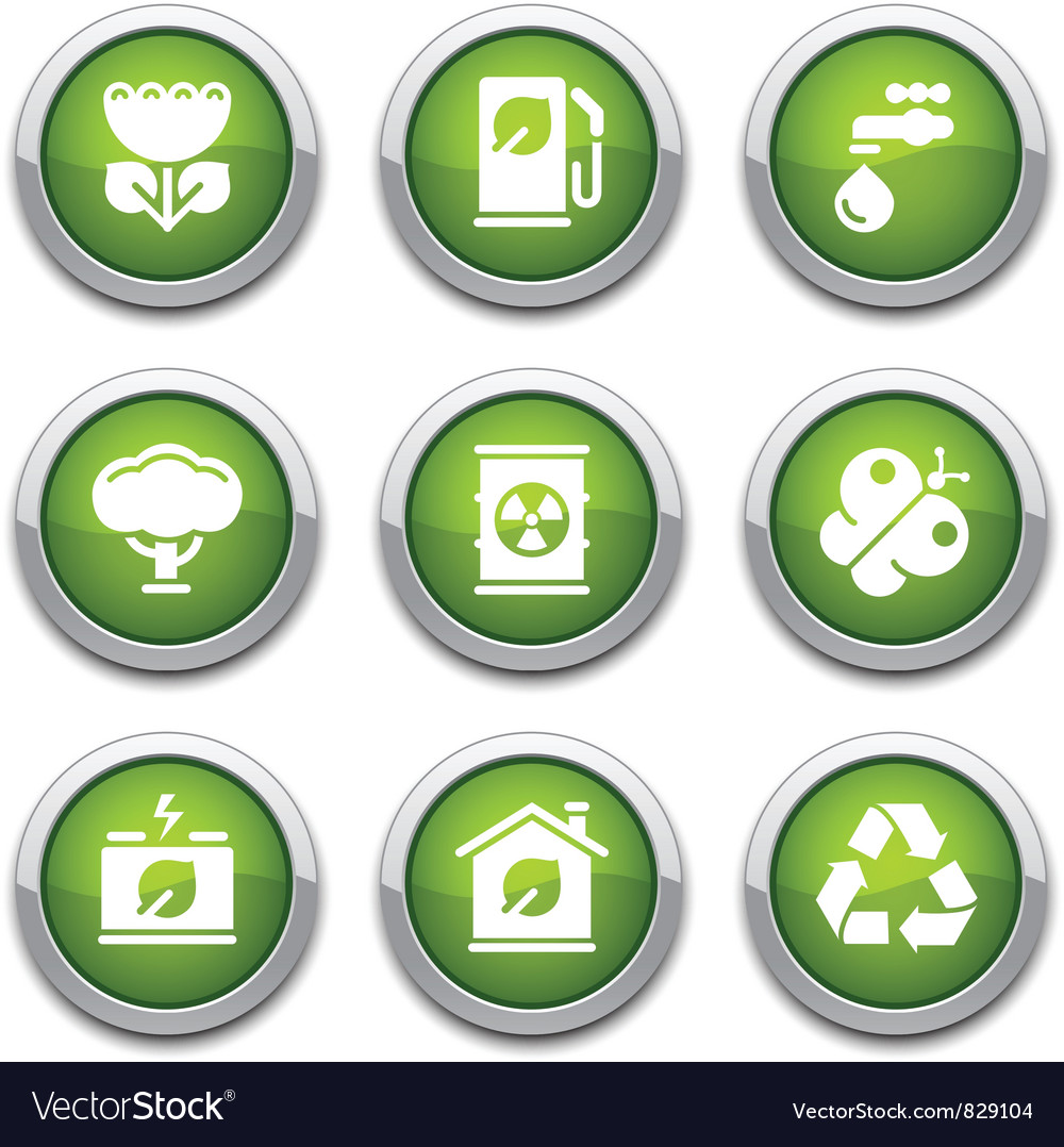 Green ecology buttons vector image