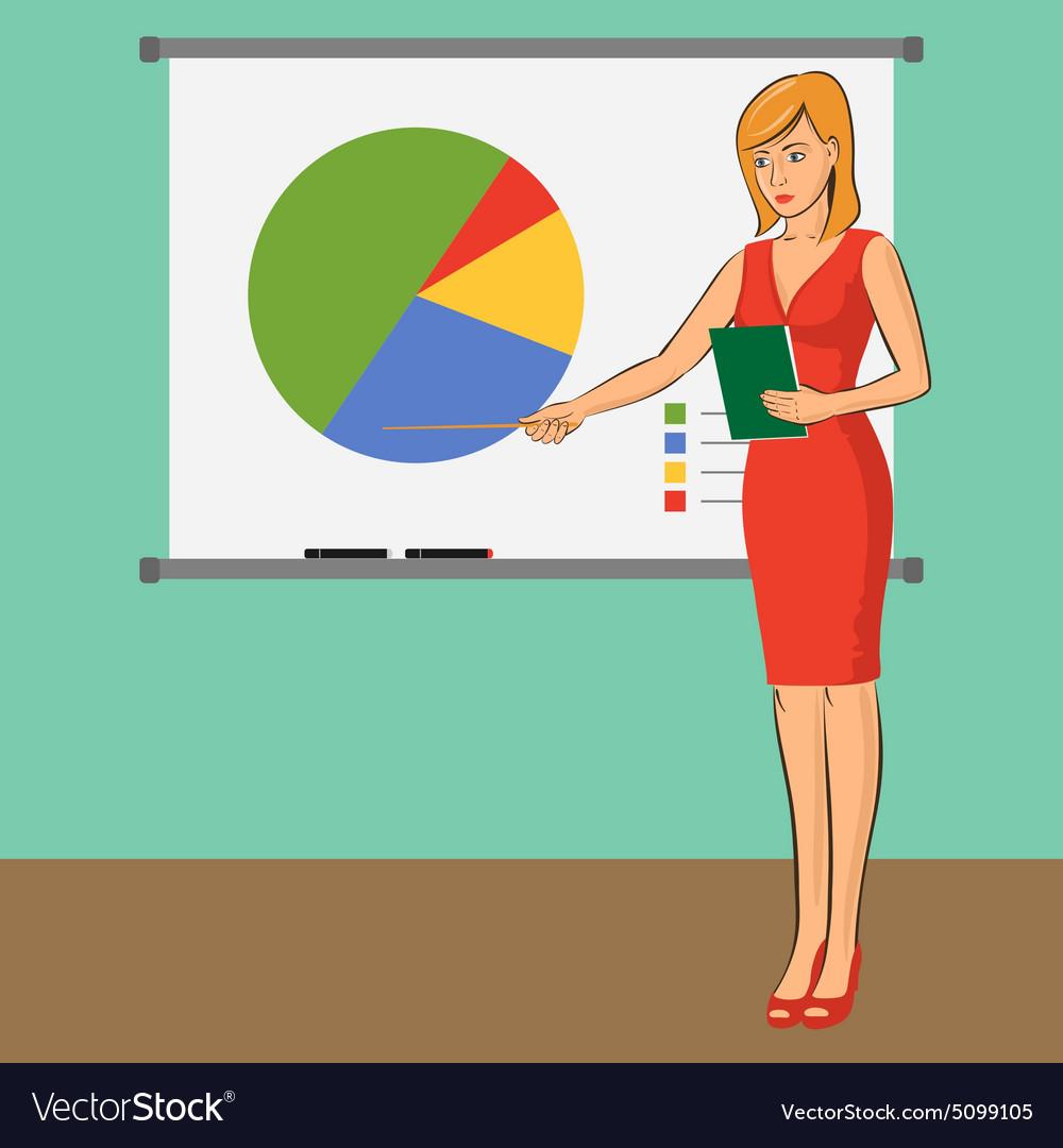 Businesswoman teacher is presenting training vector image