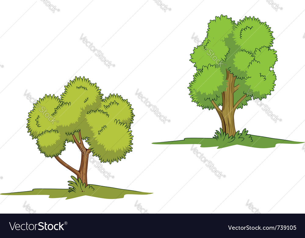 Green trees with grass isolated on white backgroun vector image
