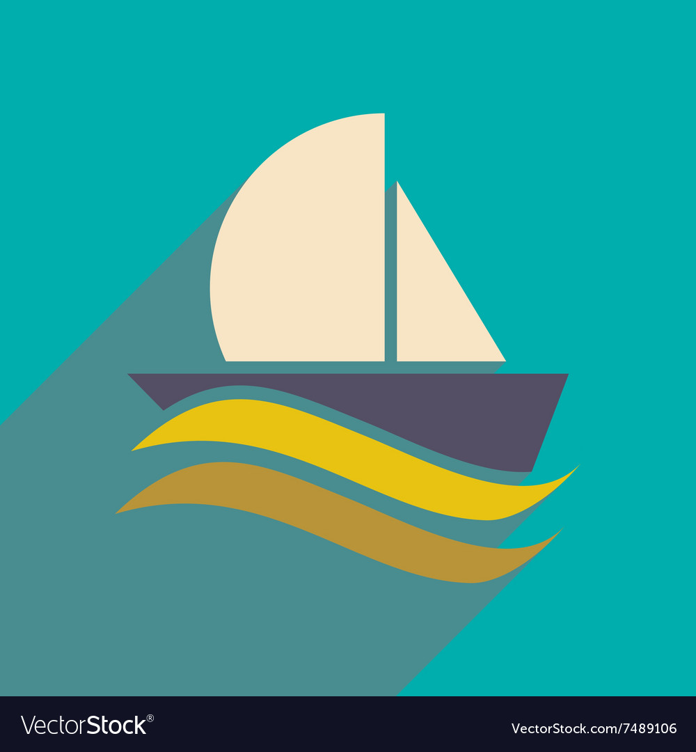 Sailing yacht flat square icon with long shadows
