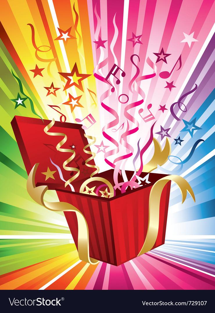 Exploding birthday present vector image