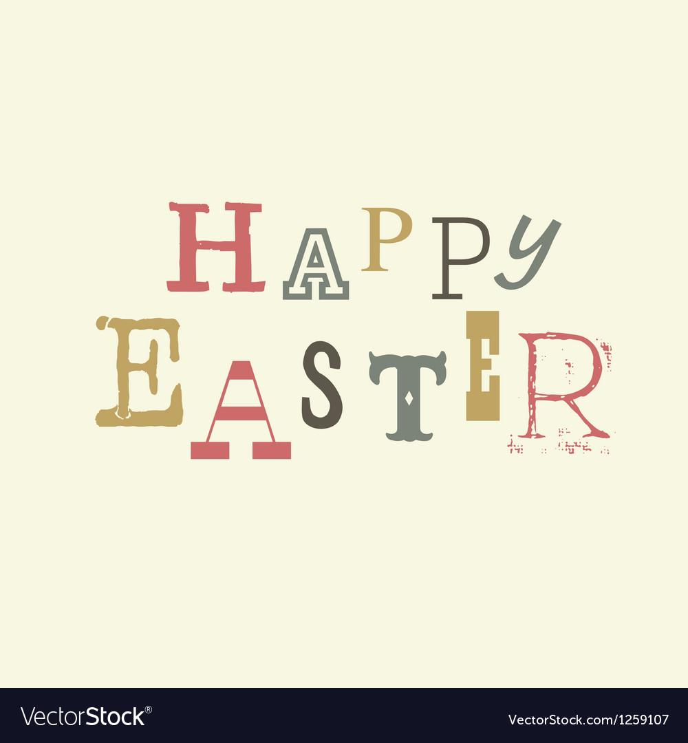 Happy easter vintage lettering vector image