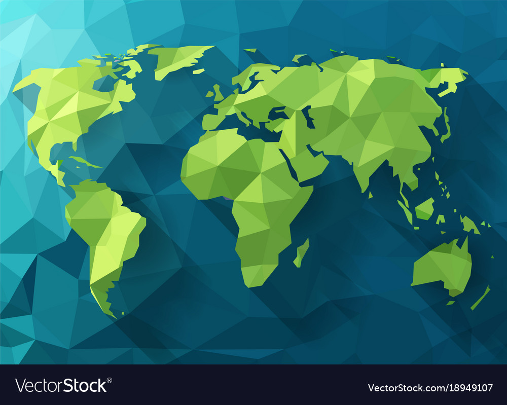 Polygonal world map low poly design origami vector image polygonal world map low poly design origami vector image gumiabroncs Images