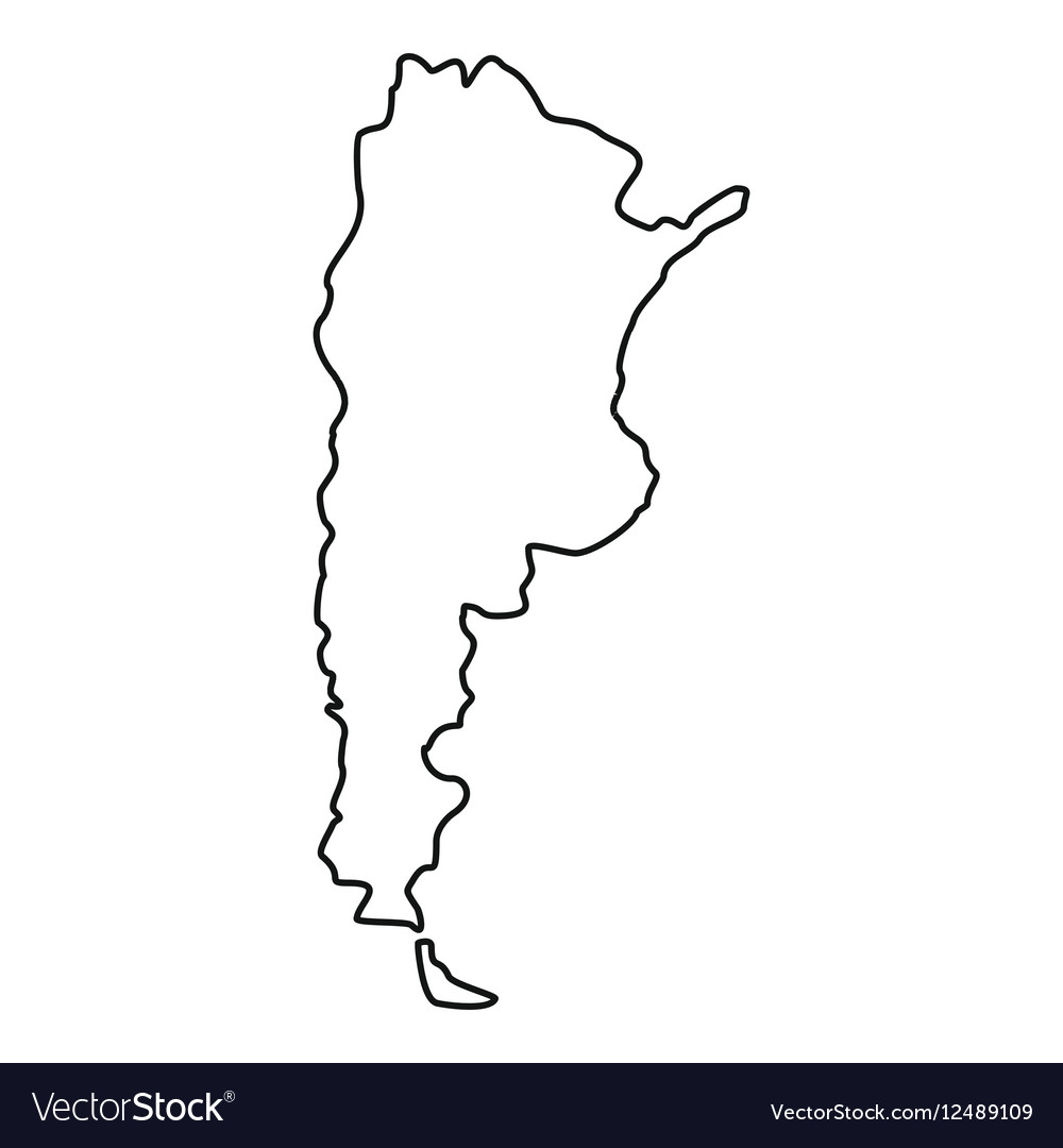 Argentina Map Icon Outline Style Royalty Free Vector Image - Argentina map black and white