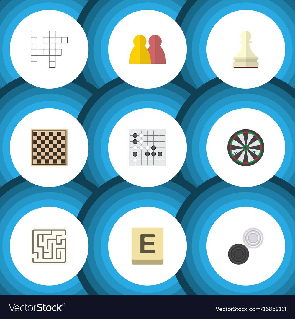 Flat icon play set of arrow mahjong gomoku and vector image