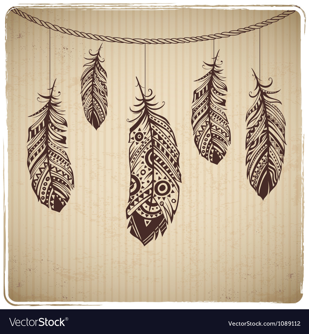 Ethnic feather on the cardboard background Vector Image