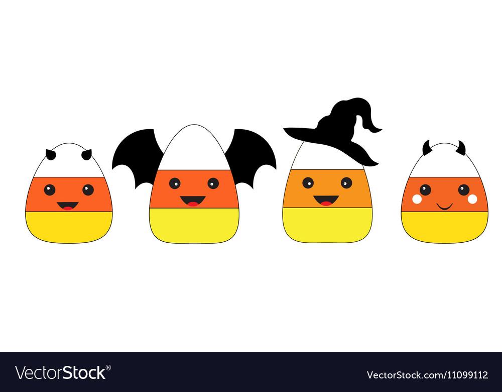 Halloween Candy Corn Flat Design vector image