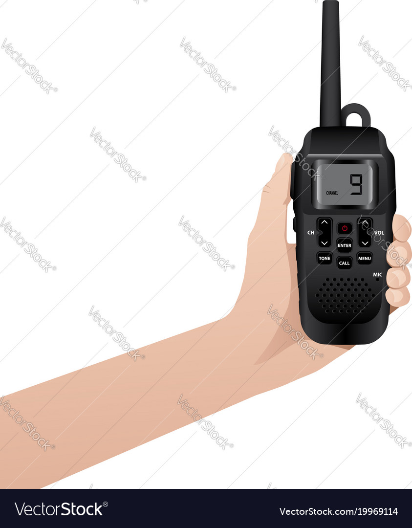 Hand with realistic walkie talkie vector image