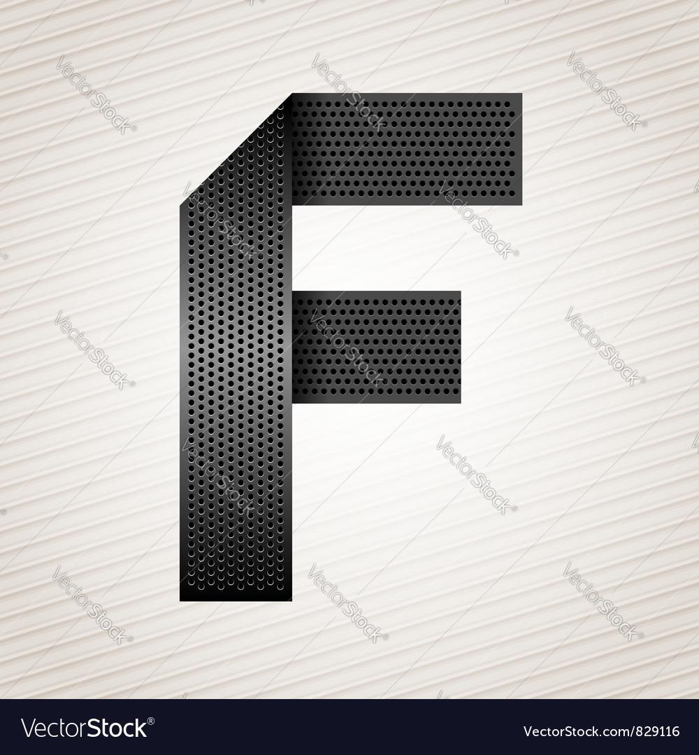 Letter metal ribbon - F vector image