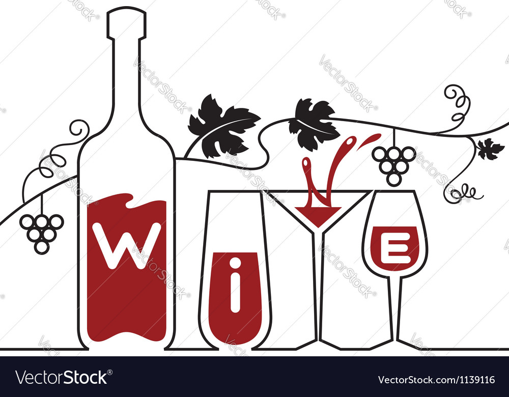 Bottle glasses and grapes vector image