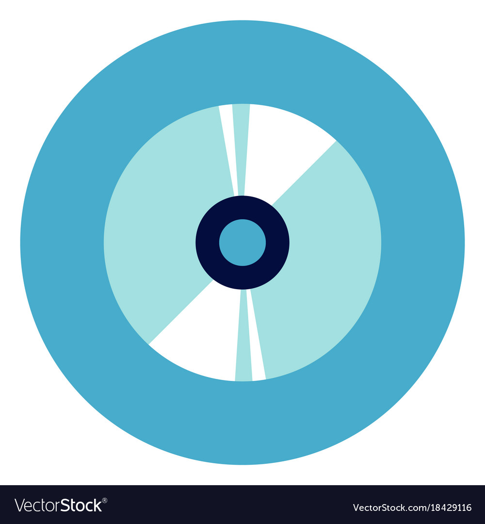 Cd disc icon on round blue background vector image